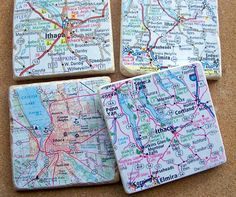 Custom map coasters. $32 for a set of 4. Let me create a memento for you...