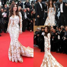 Najwa Karam Cannes Long Sleeves Mermaid Red Carpet Dresses Champagne Tulle With White Appliques Evening Gown Vestido De Festa