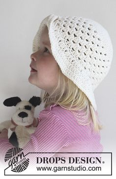 Lovely Lisa - Crochet summer hat in DROPS Paris. - Free pattern by DROPS Design Crochet Summer Hats, Crochet Girls, Crochet Baby Hats, Crochet Beanie, Crochet For Kids, Baby Knitting, Free Crochet, Knit Crochet, Free Knitting