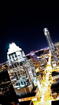 Long exposure of Frost Bank, The Austonian, & Congress Avenue in downtown Austin.  March 2011 | Austin, Texas