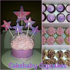 ColossalBaby Cupcake/CBC Jrs. Party Package with Custom Pink and Purple marbleized theme. ColossalBaby Cupcake in Red Velvet and CBC Jrs in Red Velvet, Strawberry Cheesecake, and Brownie cheesecake. #cakebabycupcakes #cupcakes #custom #Atlanta #Delivery #birthday
