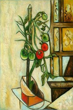 Pablo Picasso Tomato Plant, oil on canvas. Between the third and twelfth days of August 1944 Picasso painted nine pictures of a tomato plant perched on a window sill, all on identically sized canvases. Today some of them are in museums, the. Pablo Picasso, Art Picasso, Picasso Paintings, Klimt, Oil Canvas, Cubist Movement, Georges Braque, Spanish Painters, Art Moderne