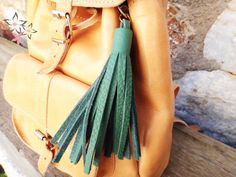 Items similar to OFF Handmade Faux Leather Keychain / Black, Βordeaux, Light Brown Colors / Large Tassel Key Charm / Bag Charm Accessory / Lobster Clasp on Etsy Green Leather, Leather Bag, Leather Tassel Keychain, Bag Clips, Bohemian Style, Boho Chic, Bag Accessories, Tassels, Backpack