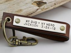 Fathers Day Key Chain - Mens Personalized Leather Key Chain - New Dad, Father, Grandpa