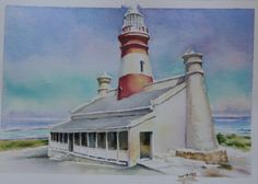 Agullas lighthouse - southern most tip of Africa. Lighthouses, Cape Town, South Africa, National Parks, African, Watercolors, Places, Southern, Pictures