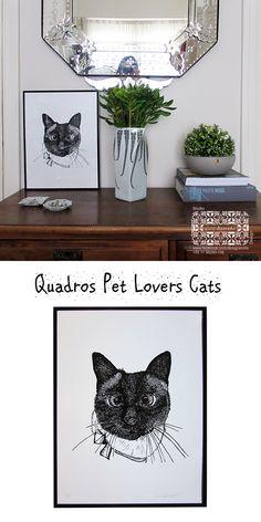 """LANÇAMENTO! Quadros com moldura em alumínio com acabamento em pintura na cor preta. Desenhos autorais do Studio Cris Azevedo , da coleção """"Pet Lovers - Cats"""" prontinhos para pendurar em sua parede. Gato siamês impresso em papel com impressão  a laser."""