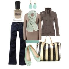 Teal and Brown....Soft and Sweet..<3 the scarf..