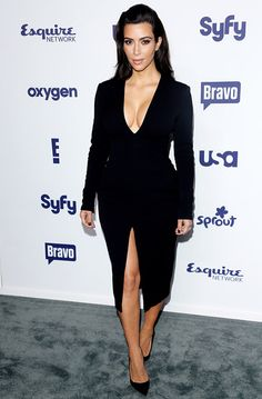 Kim Kardashian Flashes Major Cleavage, Lots of Leg at NBC Upfronts - Us Weekly