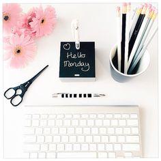 On my Desk | Stationery  instagram.com/mintandfizz #kikkik #imac #pink #blackandwhite #stationeryaddict #gerberas #flatlay