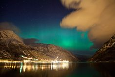 Northern lights, aurora borealis, above Odda in Norway. Part of a timelapse of 1238 photos, Dag Endre Opedal