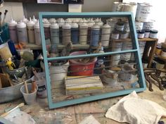 old screen drawer...transformed in to an earring holder for Sissy Yates.  Annie Sloan's Provence Chalk Paint®.