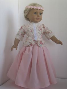 Shabby Chic Princess dress fits American Girl Doll by dollthreads
