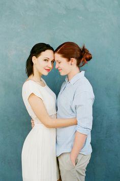 Dvě krásné nevěsty *** Two brides /// A Vote & A Vow Shooting Couple, Couple Posing, Couple Shoot, Girl Couple, Lesbian Wedding, Lesbian Love, Engagement Photo Poses, Engagement Couple, Lgbt Couples