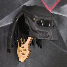 Matt black custom predator helmet with real laser. Painted Raptor u-pol! Helmets For Sale, Gladiator Helmet, Predator Helmet, Custom Motorcycle Helmets, Helmet Paint, Open Face Helmets, Visors, Iron Man, Wolf