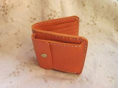 革財布 Leather bi-fold wallet (hand stitched) orange