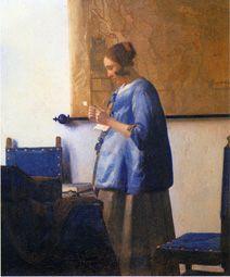"""Johannes Vermeer """"Brieflezende vrouw"""" La mujer de azul leyendo una carta"""