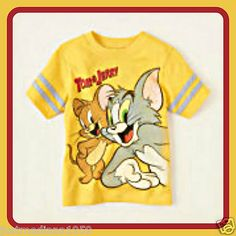 NWT Baby Boy/Girl Graphic Yellow Tee with Tom & Jerry Cartoon Characters 9-12mo - Sold March 18, 2013