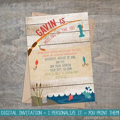 Fishing Invitation | Reeling In The Big One Fish Lake Pond Wood Rustic Boy Girl 1st Birthday Party Invite