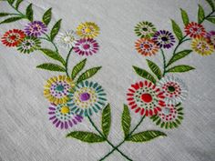 VINTAGE TABLECLOTH-PRETTY FLOWERS-HAND EMBROIDERED-LINEN