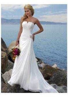 V escote palabra de honor vestidos de gasa de novia para playa