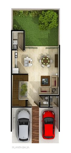 Small but intelligent house in a growth area in the city of Puebla, México. Small House Layout, Small House Design, House Layouts, Simple House Plans, House Floor Plans, Model House Plan, Mexico House, Casas Containers, Narrow House