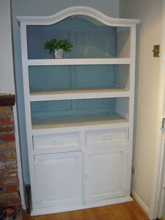 Mexican pine dresser painted with Annie Sloan chalk paints, old white and duck egg blue