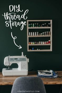 Free plans for a DIY thread shelf... such a great way to keep a sewing room organized! #DIY #ThreadShelf #CraftOrganization #CraftStorage #ThreadStorage