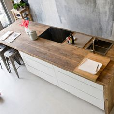 island with wood in the kitchen