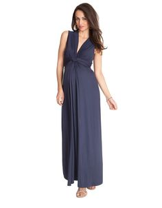 <ul>%0A<li>Knot front detail</li>%0A<li>Deep v-neckline that pulls aside for breastfeeding</li>%0A<li>Full length maternity maxi dress</li>%0A</ul>%0A<p>This stunning navy knot front maternity maxi dress will easily be your favourite summer piece and a must have for your maternity wardrobe. The knot front gathers and falls beautifully over your bump, with the maxi length creating an elegant summer look.</p>%0A
