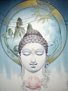 """""""We are fortunate now to become aware of the contents of our mind. With that knowledge we will be able to change the aspects that lead to confusion and misery in our lives"""".     ~  Thubten Chodron  Artist:  Manish Verma   ॐ lis"""