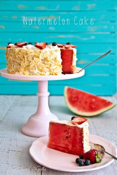 Watermelon Cake~T~ I love this idea. Cut a watermelon round and then trim away rind. Whip up some cream ( or chilled coconut cream) with some powdered sugar and frost watermelon. Decorate with flaked, toasted almonds, blueberries and strawberries. Genius.......