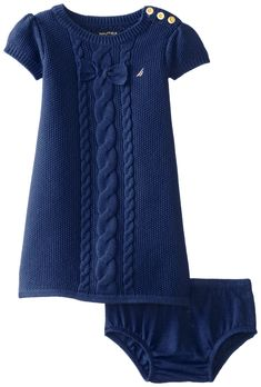 Nautica Baby Girls' Cable Bow Sweater Dress, Med Navy, 12 Months: Sweater dress with coordinating bloomers Girls Sweater Dress, Knit Baby Dress, Knit Sweater Dress, Sweater Set, Knitting For Kids, Baby Knitting Patterns, Baby Sweaters, Girls Sweaters, Little Girl Dresses