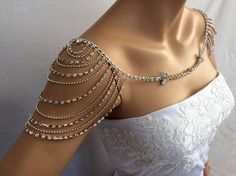 Beautiful Bridal Shoulder Necklace, made with rhinestone. Unique and truly an eye catching wedding necklace. The necklace lies beautifully around the neck and together exquisite and it is very comfortable to wear. **** Would you like to see more wedding accessories ****