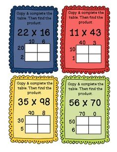 Partial Products 2 Digit Multiplication Task Cards - COMMO 4th Grade Multiplication, Fifth Grade Math, Partial Product Multiplication, Math Fractions, Fourth Grade, Math Strategies, Math Resources, Math Activities, Multiplication Strategies