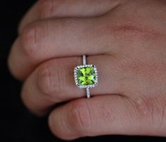 Peridot Ring Peridot Engagement Ring with Peridot Cushion and Diamond Halo Ring in White Gol Peridot Engagement Rings, Diamond Wedding Rings, Bridal Rings, Wedding Bands, Peridot Jewelry, Birthstone Jewelry, Promise Rings For Her, Alternative Engagement Rings, Eternity Ring