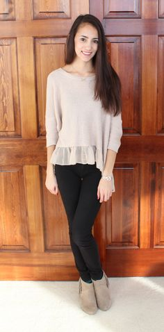 american eagle sweater, jeggings, and fringe booties - winter outfit 2014