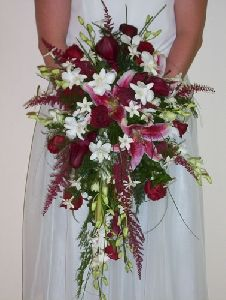red, pink, white, green cascade bouquet... needs more light pink and white but i like this one alot