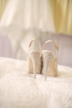 Mori Lee for an oh so pretty wedding at Wynyard Hall. Sparkling wedding shoes.   Image by Helen Russell Photography.  Read more: http://bridesupnorth.com/2015/09/30/mori-lee-for-an-oh-so-pretty-wedding-at-wynyard-hall/
