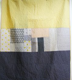 Large lap quilt or twin bed cover- grey and yellow with elephants, dots and…