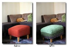 Revamped footstool with new crochet cover.