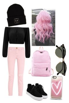 """""""Black and pink pt.2"""" by pauliina-lehtikevari on Polyvore featuring Current/Elliott, WithChic, Casetify, GURU, KLP and Ray-Ban"""