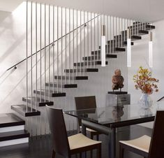 Contemporary Stairs Railing Design Alternative In Chrome Accent And Semi Float Black Painted Wooden Steps Image 84 - Stair Design Ideas Wooden Staircase Railing, Modern Stair Railing, Stair Railing Design, Metal Stairs, Modern Stairs, Painted Stairs, Banisters, Railings, Staircase Wall Decor