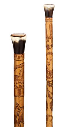 "This folk art cane is the perfect accessory for the boxing enthusiast.  The hand-carved cane features a tribute to the early boxing  greats, including James John ""Gentleman Jim"" Corbett,  Australian heavyweight Peter Jackson, the ""Boston Strong Boy"" John L.  Sullivan, and Bob Fitzsimmons. In addition to these portraits, other boxing motifs wrap around the shaft in high relief ~ M.S. Rau Antiques"