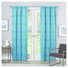 """Paloma Thermaweave Geometic Blackout Curtain Panel Teal (Blue) (37""""x95"""") - Eclipse"""