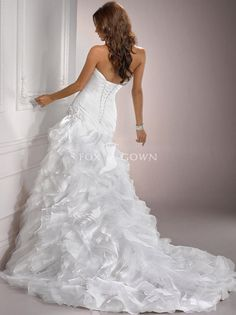 organza and tulle ruched fit and flare wedding gown with sweetheart neckline - Back