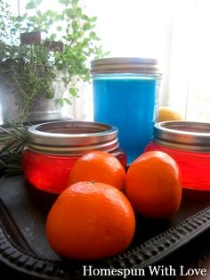Homemade Gel Air Fresheners!  1 ounce granulated or powdered gelatin  2 cups cold water, divided  20-30 drops of your choice of essential oil  1 Tablespoon salt  optional, food coloring to tint the air freshener