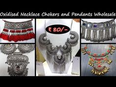 Oxidised Necklace Chokers and Pendants Wholesale Shopping Places, Oxidised Jewellery, Chokers, Pendants, Beauty, Collection, Jewelry, Youtube, Fashion