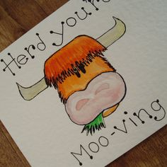 Herd you're Mooving  new house card by onelittlepug on Etsy, $2.00