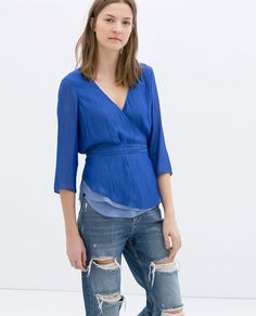 ZARA - WOMAN - TWO-TONE WRAP BLOUSE: