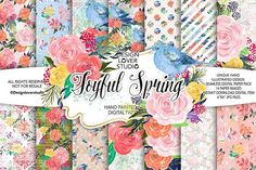 Floral Digital Paper, Acrylic Joyful Spring digital paper pack from DesignBundles.net, Graphic Design Resources